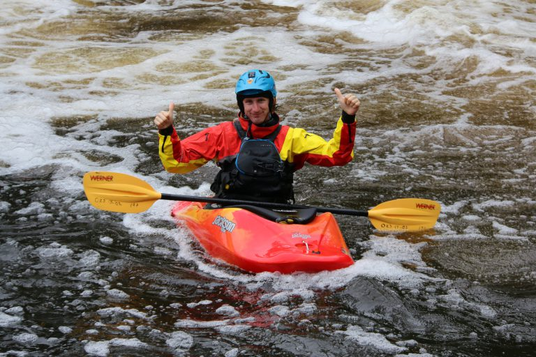 Thumbs up from a kayaker.